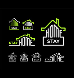 stay at home set on black background vector image