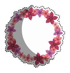 Sticker colorful circular border with flowers vector