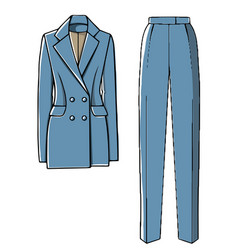 Stylish costume trousers and jacket for girls vector