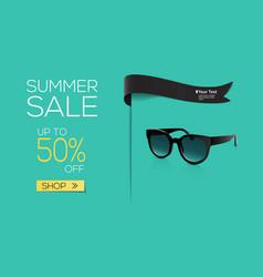 summer sale black sun glasses on colourful vector image