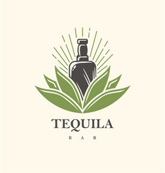 tequila bar logo design vector image