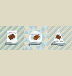 three colored labels with steak vector image