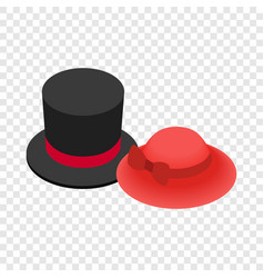 top hat with red ribbon and red female hat icon vector image