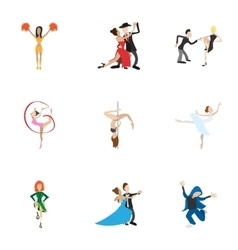 Types of dances icons set cartoon style vector