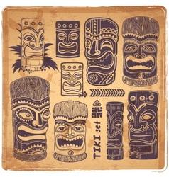 Vintage aloha tiki set vector