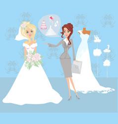 Wedding planner and bride vector