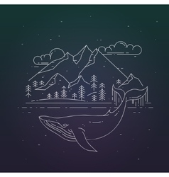 Whale and mountains landscape on dark background vector
