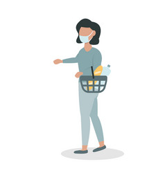 woman in a face mask with a basket vector image