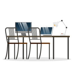 workspace with computer on table and chairs vector image