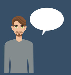 young man beard bubble speech icon vector image