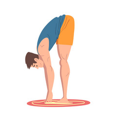 Young man bending down physical activity and vector