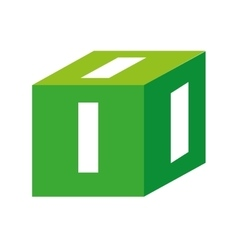 Cube number block icon graphic vector