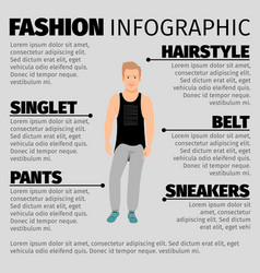 fashion infographic with strong guy vector image