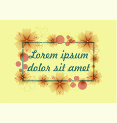 frame of flowers with text vector image