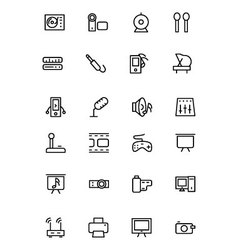 Music line icons 4 vector