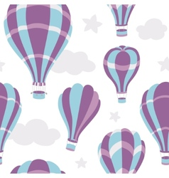 Seamless pattern of hot air balloons on the sky vector image