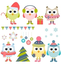 Set of christmas owls in winter vector image