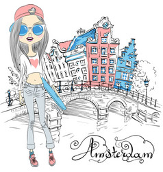 beautiful fashion girl in amsterdam vector image vector image