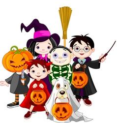 Halloween children trick or treating in halloween vector