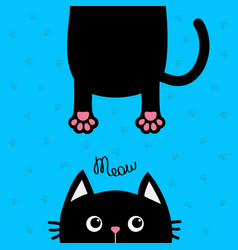 Black cat funny face head silhouette meow text vector