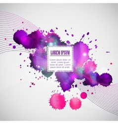 Business template with violet watercolor blots vector image
