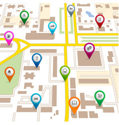 City map with pin pointers vector image