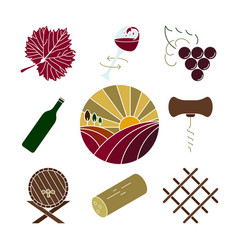 Collection of colorful wine icons vector
