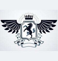 heraldic coat of arms decorative vintage emblem vector image