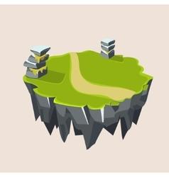 Cartoon stone grassy isometric island for game vector