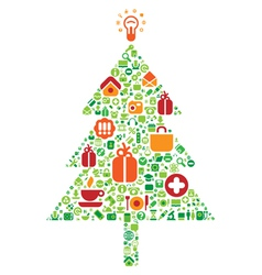 Christmas tree of icons vector image vector image
