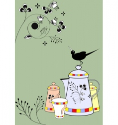 dishes with bird vector image