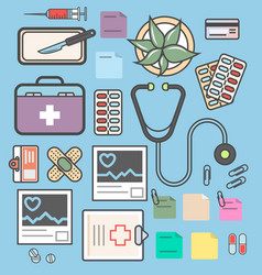 medical equipment isolated colorful icon set vector image