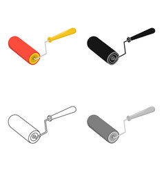 paint roller icon in cartoon style isolated on vector image