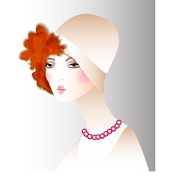 Retro girl in a hat fashion vector image vector image