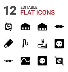 12 plug icons vector image