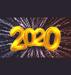 2020 happy new year party firework banner vector