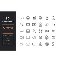 30 cinema line icons vector image