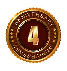 4 years anniversary golden brown label vector image vector image