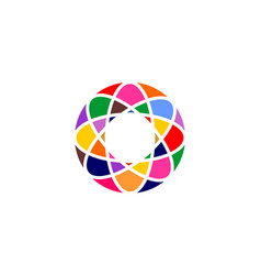 Abstract circle network rainbow colorful vector