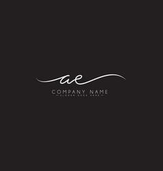 Ae initial letter logo - hand drawn signature logo vector