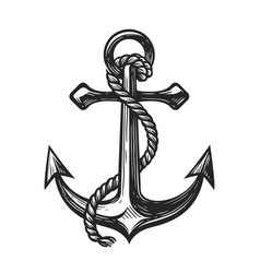 Anchor with rope symbol nautical concept sketch vector