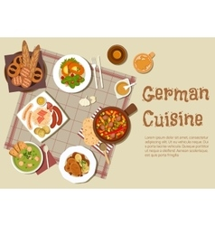 Authentic german meat dishes flat icon vector