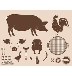 Barbecue grill Pig Chicken vector image