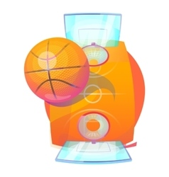Basketball ball over court with backboards and net vector