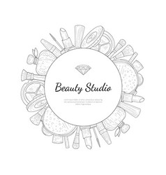 beauty salon monochrome banner template with place vector image