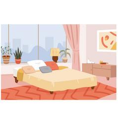 Bedroom hygge home interior room design apartment vector