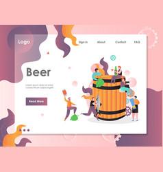 Beer website landing page design template vector