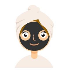 Black clay mask on girl face color flat icon for vector