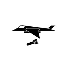 Black icon on white background military jet vector