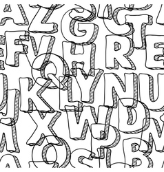Black seamless pattern with letters of alphabet vector image